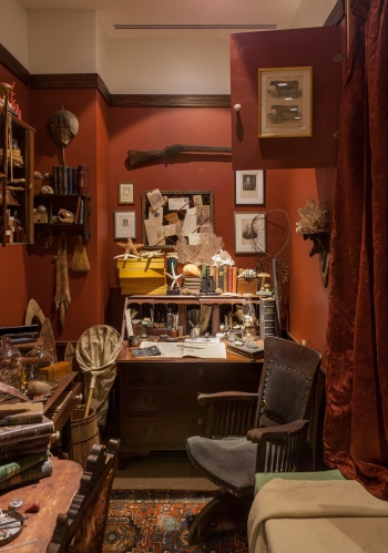 "Professor Jenks' office, reimagined based on Dallas Lore Sharp's ""A Bed in the Museum."""