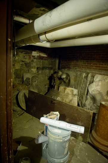 "The ""scary basement"" of Brown's Political Science department complete with lost casts and exposed pipes."