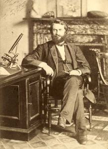 Paleontologist Joseph Leidy Cope in his office at the Academy of Natural Sciences,  1870s or 80s.